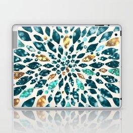 Glitter Dahlia in Gold, Aqua and Ocean Green Laptop & iPad Skin