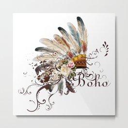 Boho headdress of feathers with flowers. Wild design Metal Print