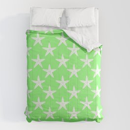 Starfishes (White & Light Green Pattern) Comforters