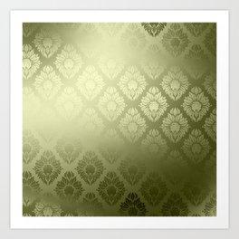 """Olive Damask Pattern"" Art Print"