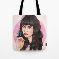 grimes Tote Bags featuring Grimes III  by Helen Green