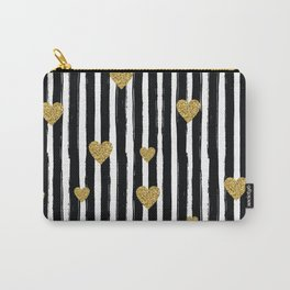 Gold Glitter Hearts Black and White Stripes Carry-All Pouch
