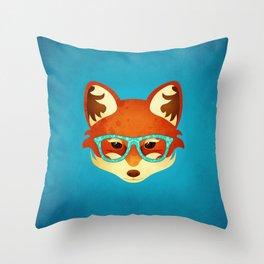 Hipster Fox: Azure Throw Pillow