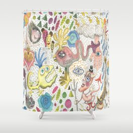 maximalism maximalist pastel pencil surreal fantasy Shower Curtain
