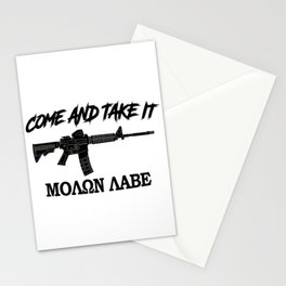 Come and Take It! Molon Labe! Black in Greek. Stationery Cards