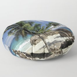 A small beach on La Digue island, the Seychelles Floor Pillow