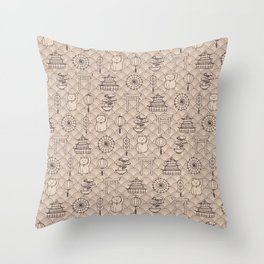 Retro asian pattern Throw Pillow