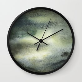 Watercolor landscape painting of sunset with tree silhouetted.  Moody artwork landscape painting watercolor Wall Clock