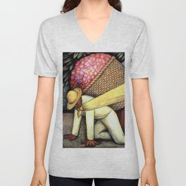 """""""The Flower Carrier"""" by Diego Rivera Unisex V-Neck"""