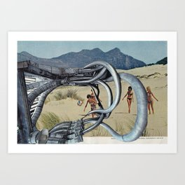 Industrial Beach Party - Vintage collage Art Print