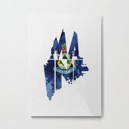 Maine Typographic Flag Map Art Metal Print