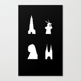 Delft silhouette on black Canvas Print
