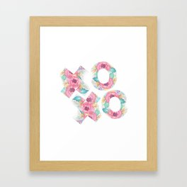 XOXO Floral Watercolor Typography Framed Art Print