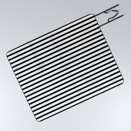Black And White Stripes Breton Nautical Minimalist Picnic Blanket
