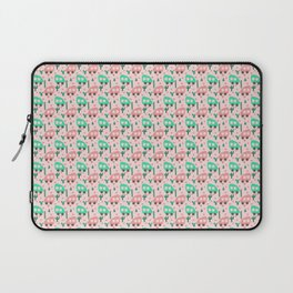 Small Camper Vans in Pink and Mint with Green Cactus and Pink Flowers Laptop Sleeve