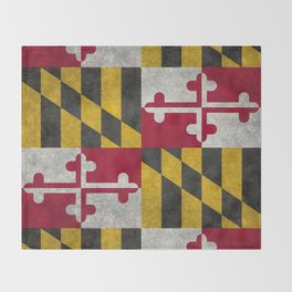 State flag of Flag of Maryland, Vintage retro style Throw Blanket