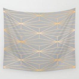 ELEGANT GRAY SILVER GOLD DIAMOND PATTERN Wall Tapestry