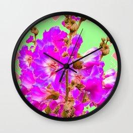Fuchsia Purple Holly Hocks Pattern  Mint Green Flora Art Wall Clock