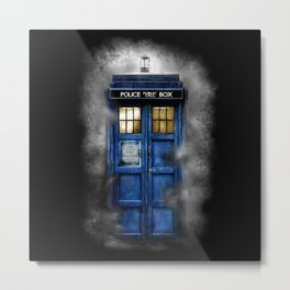 Haunted Halloween Blue phone Box Metal Print