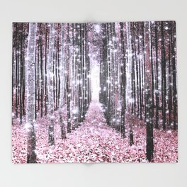 Magical Forest Pink Gray Elegance Throw Blanket