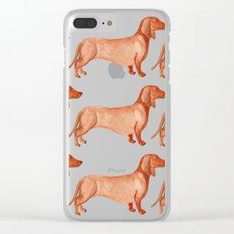 Watercolor Weenie Pattern Clear iPhone Case