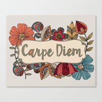 carpe Canvas Prints featuring Carpe Diem by Valentina Harper
