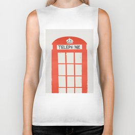 Red London Telephone Box Biker Tank