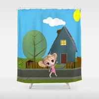 chibi Shower Curtains featuring Chibi Girl by ChibiGirl