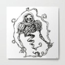 Skull with a Renaissance Spacehelmet Metal Print