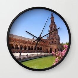 Plaza de España in Seville, Spain Wall Clock