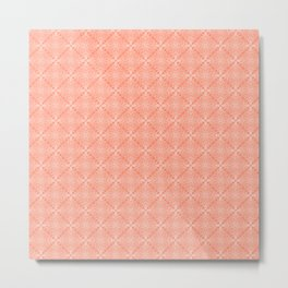 White Lace on Coral Pink Background Metal Print