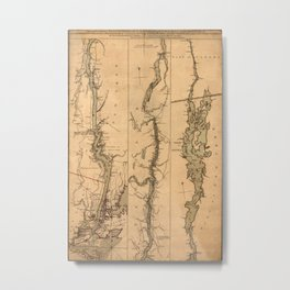 Map Of The Hudson River 1777 Metal Print