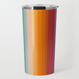 Retro Rainbow Striped Pattern Travel Mug