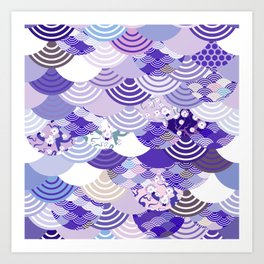 Nature background with japanese sakura flower, Cherry, wave circle. Ultra Violet Color of the Year Art Print