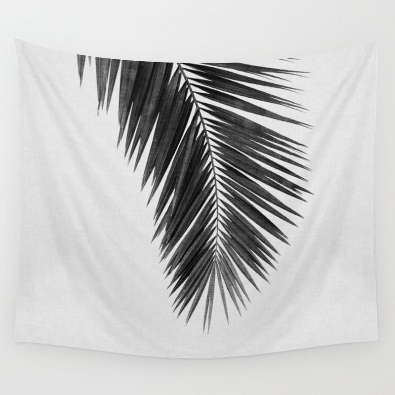 Palm leaf black white i wall tapestry