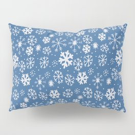 Snowflake Snowstorm With Sky Blue Background Pillow Sham