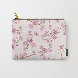 Spring Flowers - Pink Cherry Blossom Pattern Carry-All Pouch