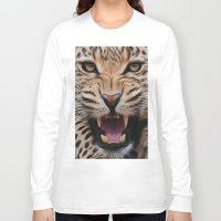 leopard Long Sleeve T-shirts featuring Leopard   by Brian Raggatt