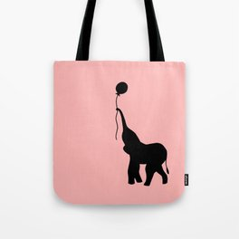 Elephant with Balloon - Pink Tote Bag