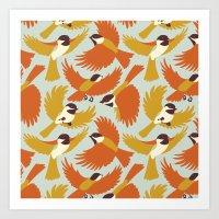 Chickadees in Orange Art Print