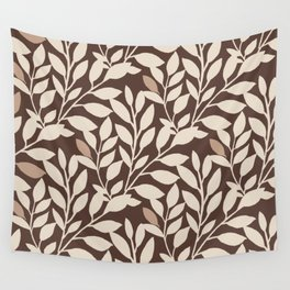 Leaves and Branches in Cream and Brown Wall Tapestry