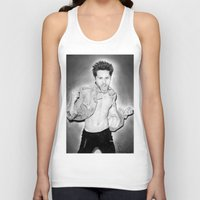 30 seconds to mars Tank Tops featuring Jared Leto (30 Seconds To Mars) Portrait. by Carl Merrell Art