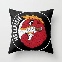 Flying Hellfish Throw Pillow