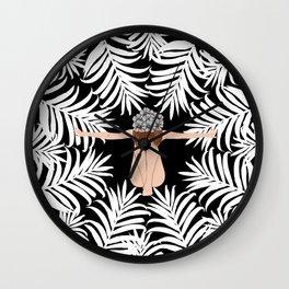 Black and white Botanical Design Wall Clock