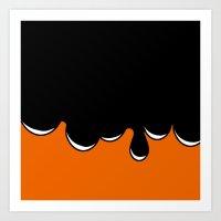 Drip over orange Art Print