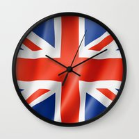 british flag Wall Clocks featuring UK / British waving flag by GoodGoods
