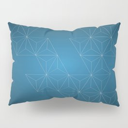 White abstract geometric triangle pattern on blue background. Pillow Sham