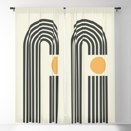 Geometric Lines in Gold and Black 4 (Rainbow and Sunrise Abstract) Blackout Curtain