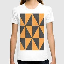 Geometric Triangle Pattern - Yellow, Gray T-shirt