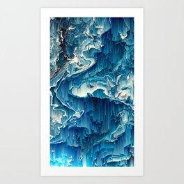 Blue Fluid Digital Waterfall Art Design Graphic Art Abstract Art Print